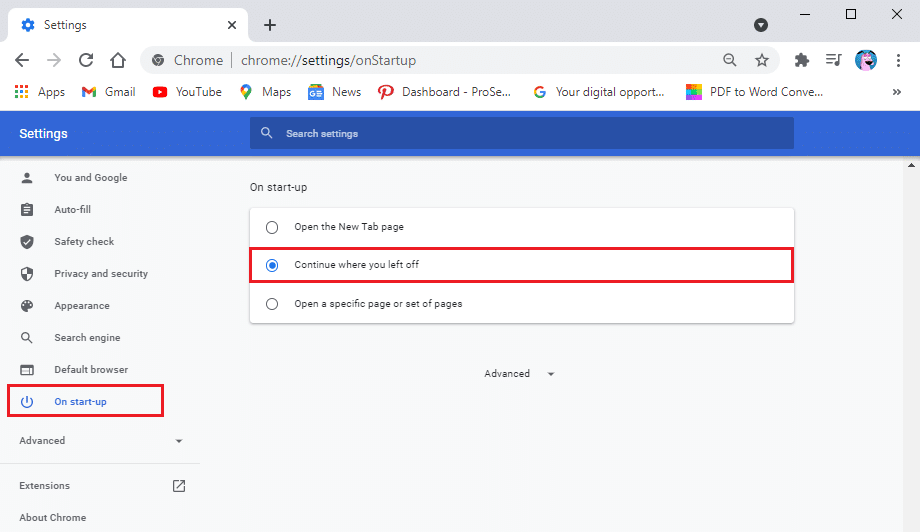 Click on the 'Continue where you left off' option from the middle | Reopen Recently Closed Tabs