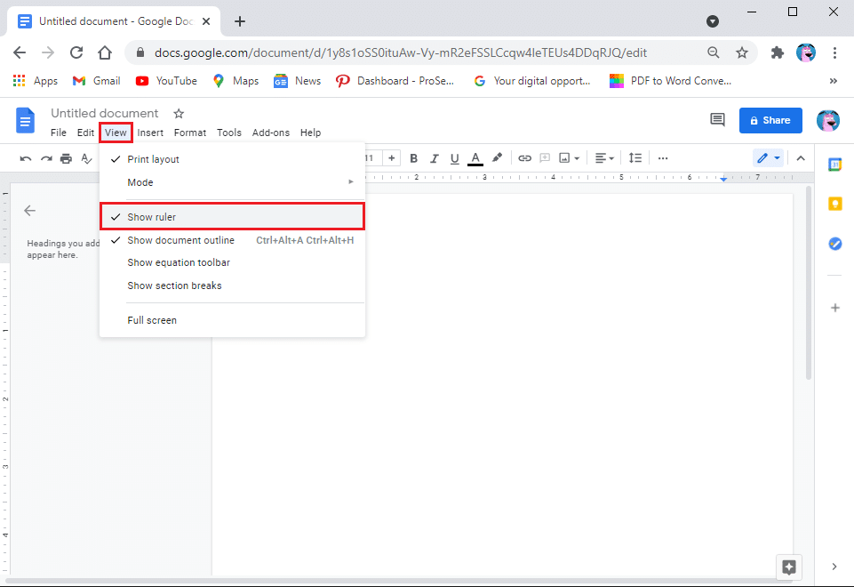 Click on the View tab from the clipboard section at the top and select 'show ruler.'
