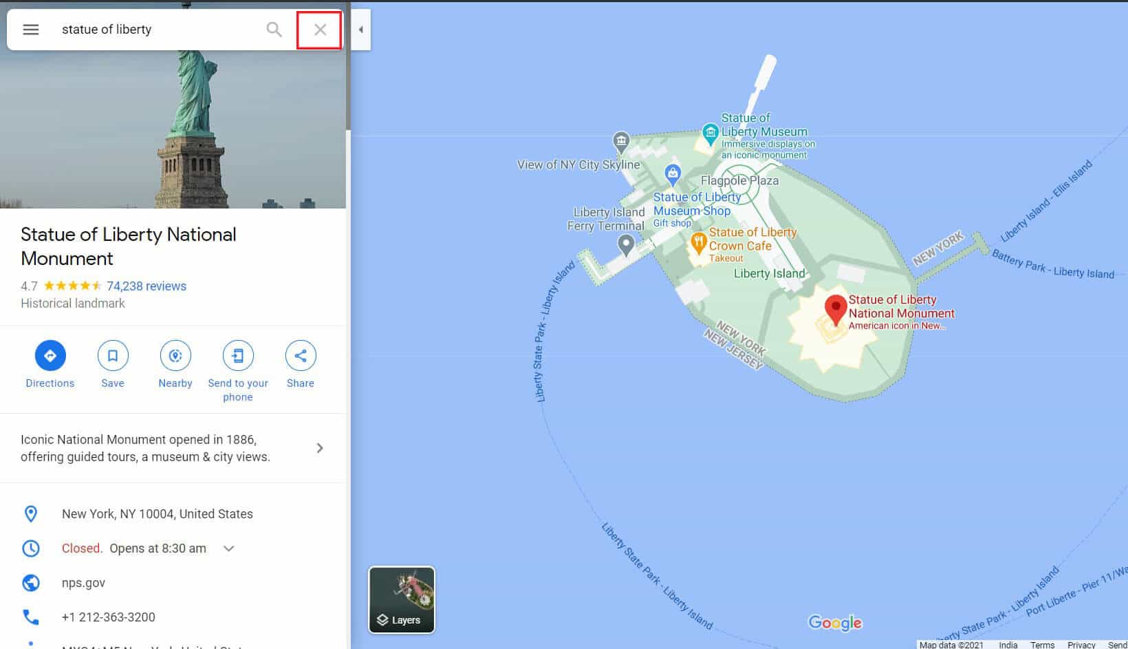 Click on the cross on search bar to remove pin | How to Drop a Pin on Google Maps (Mobile and Desktop)