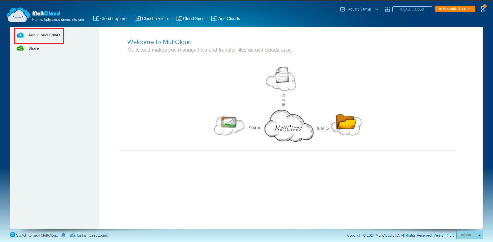 Click on the option titled 'Add cloud services' in the left panel