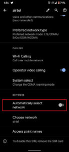 Enable Automatically Select Network