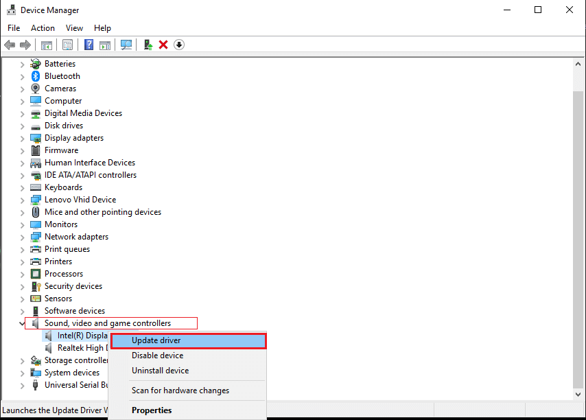 Finally, make a right-click on your Video driver and click on Update driver.