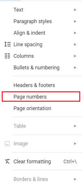 From Format options, click on Page Numbers