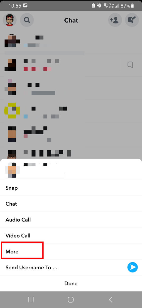 From the given list of options, select More. | How to Delete Messages on Snapchat