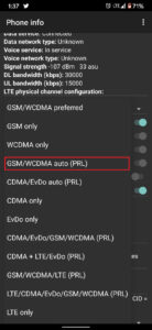 From the list, select GSM auto (PRL)