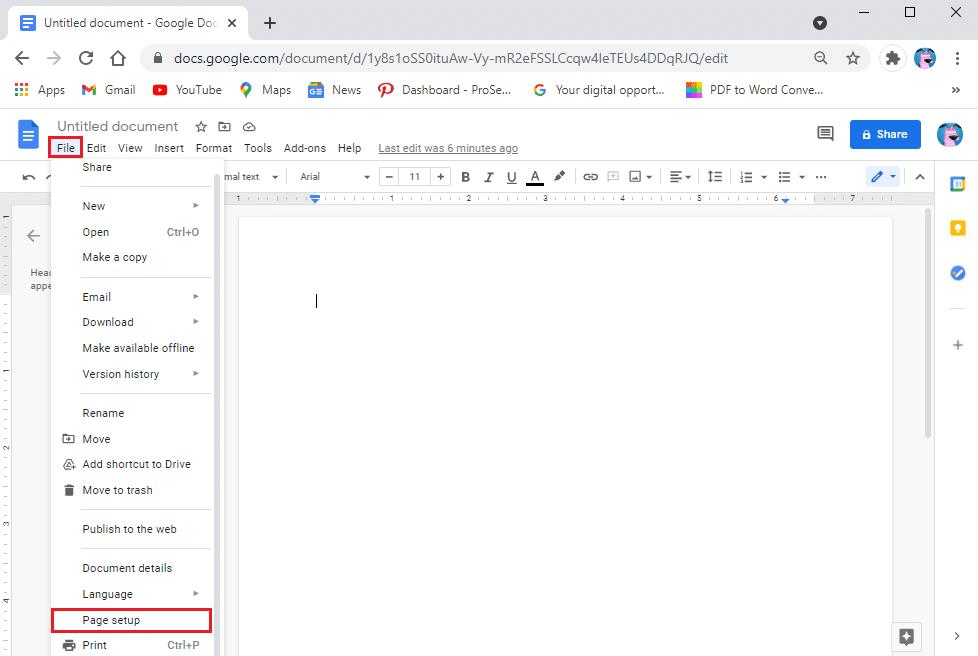 Go to page setup | Change Margins in Google Docs