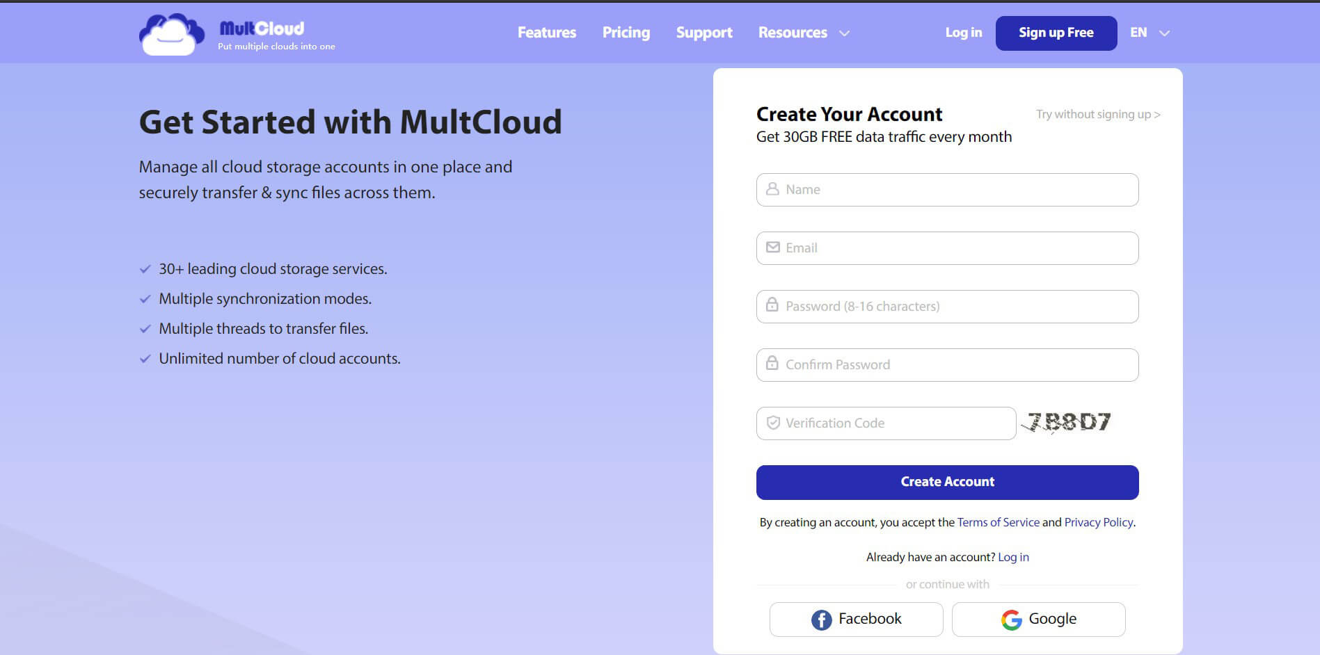 Head on the MultCloud website and create a free account