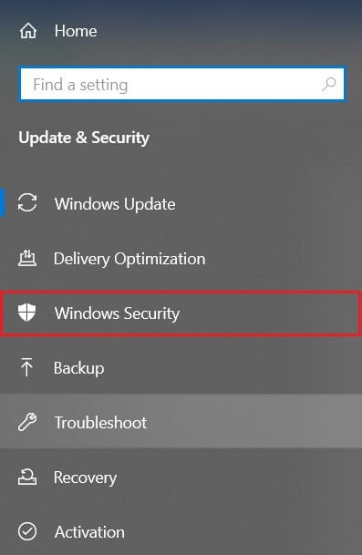 Head to the windowsSecurity' in the panel on the left side