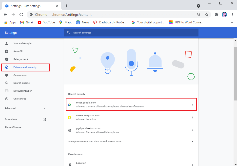 In Site settings, click on meet.google.com.