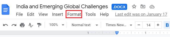 In taskbar, click on Format