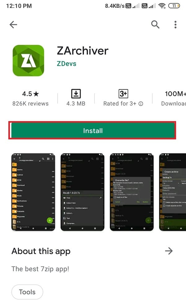 Install ZArchiver from Google play store and open it