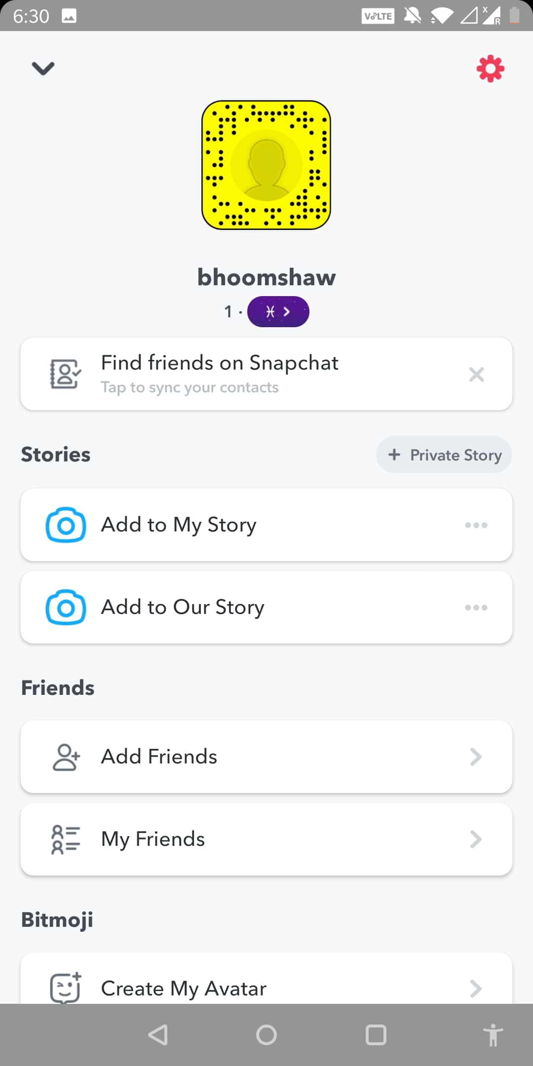 Just under the code, you will find the Snapchat score or the numbers we've been talking about
