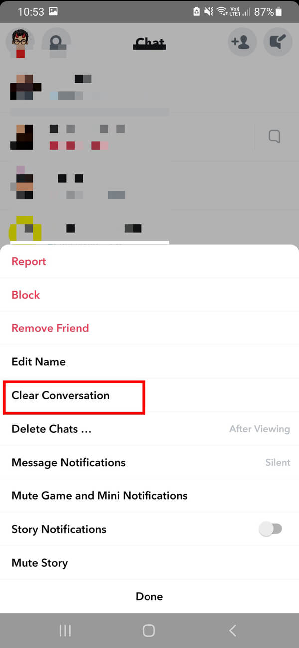 On the next screen, you must tap on the Clear conversation option | How to Delete Messages on Snapchat