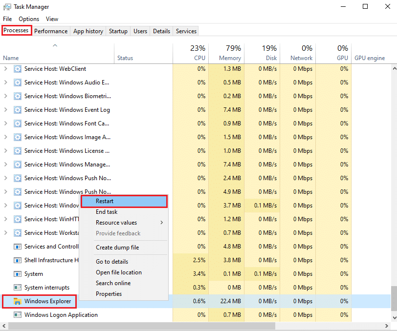Right-click on Windows explorer and select restart | Fix Windows 10 start button not working