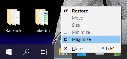 Right-click on your application in the taskbar then click on the maximize option