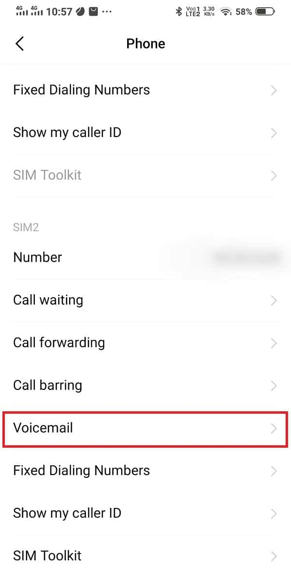 Scroll down and open voicemail | Fix voicemail not working on Android