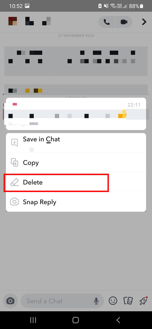 Select the conversation from which you wish to delete a message then long press on the message and select the Delete option.