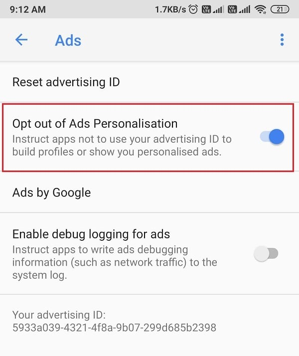 Turn off the toggle for opt-out of Ads personalization