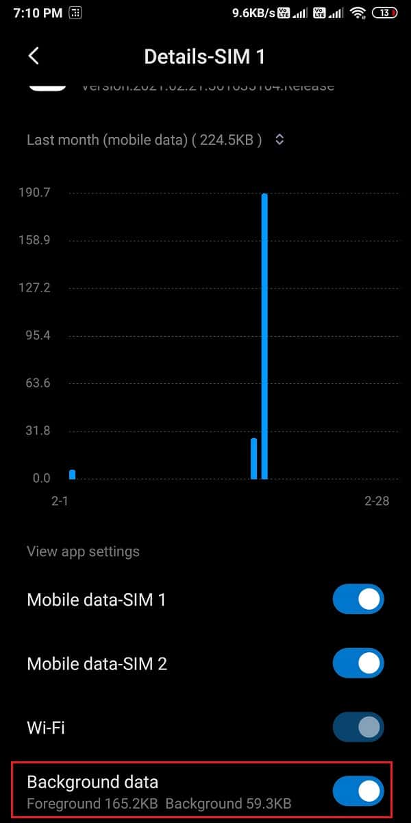 Turn on the toggle next to background data or allow background data usage.