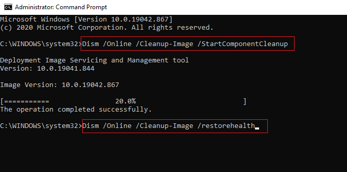 Type another command Dism /Online /Cleanup-Image /restorehealthand wait for it to complete