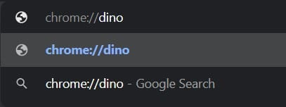 Type the code in the URL bar: chrome://dino
