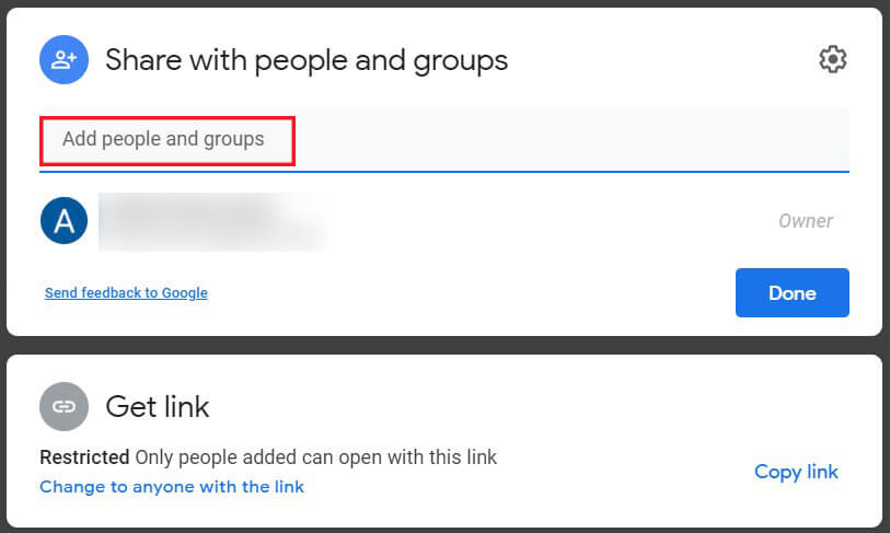 Type the name of the account in the section titled Add groups or people   How to Move Files from One Google Drive to Another