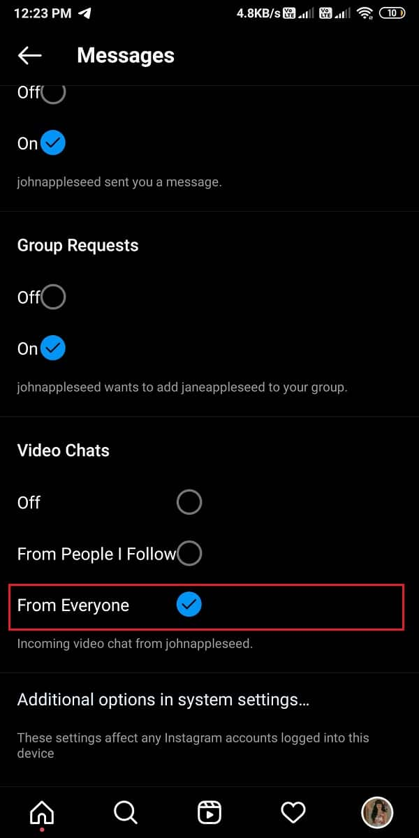 Under video chats, select from everyone | Fix Instagram Video Calling Not Working