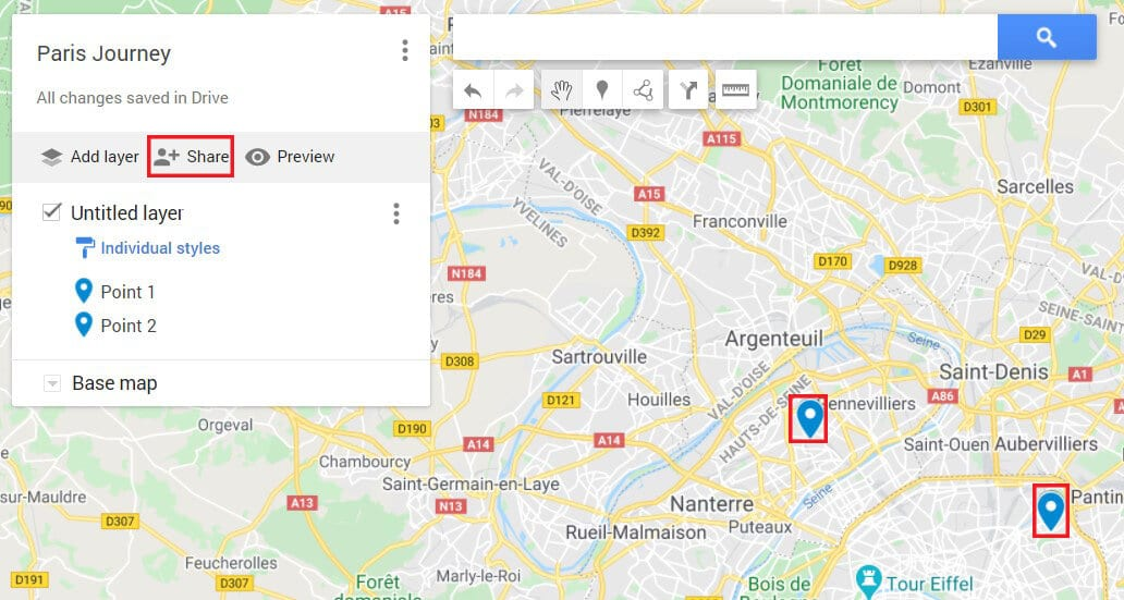 You can share the custom map | How to Drop a Pin on Google Maps (Mobile and Desktop)