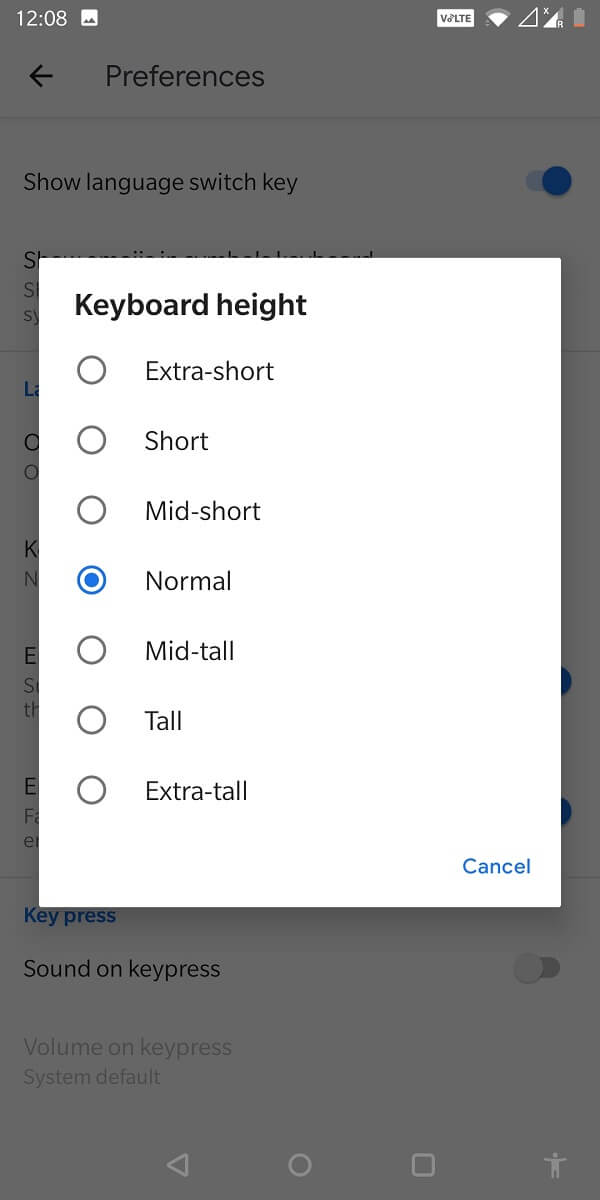 go to 'Keyboard height' and select from the seven options that are displayed