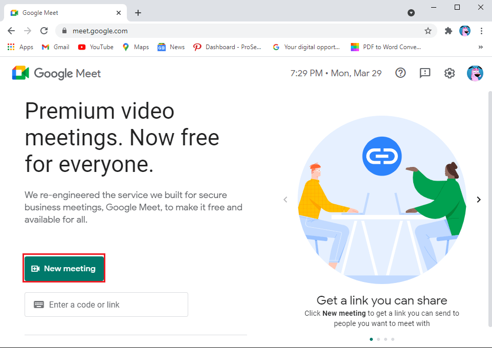 tap on the New meeting | Fix no Camera found in Google meet