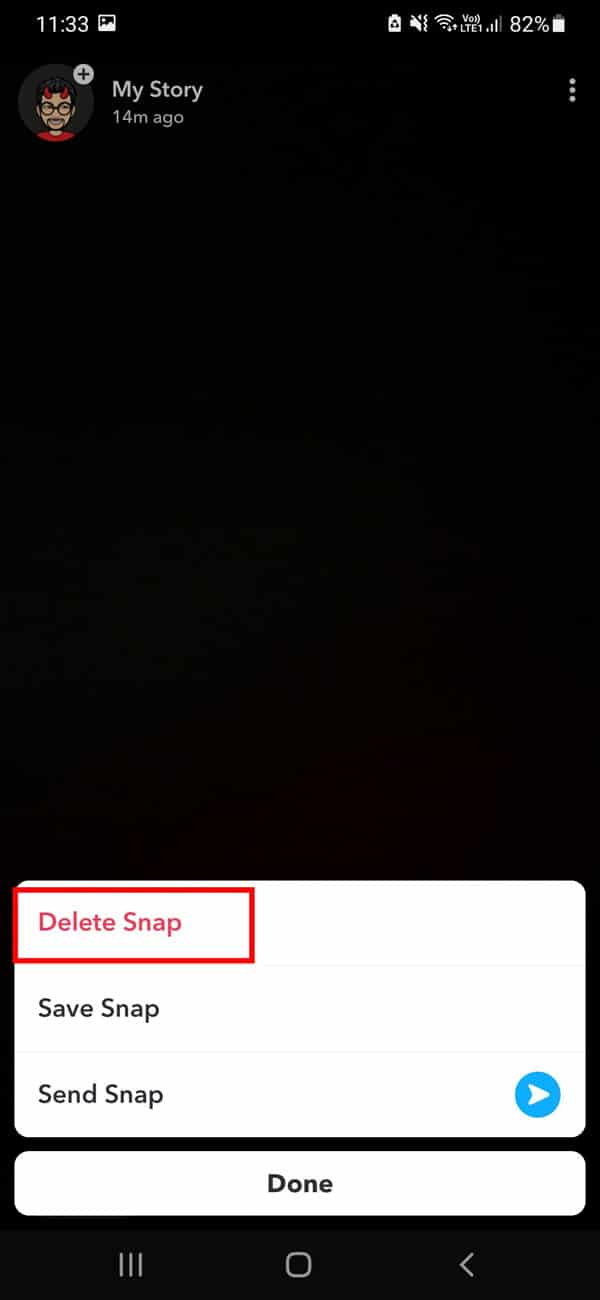 tap on the delete snap option | How to Delete Messages on Snapchat