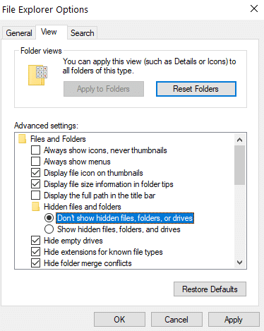 Choose the Don't show hidden files, folders, or drives option   How to Remove desktop.ini File From Your Computer