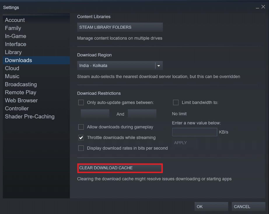 Click on Clear download cache | Fix Steam Workshop Not Downloading Mods