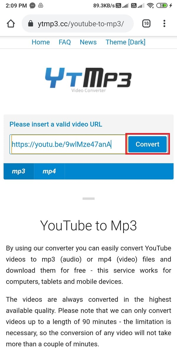 Click on Convert to start converting the YouTube video to an MP3 format