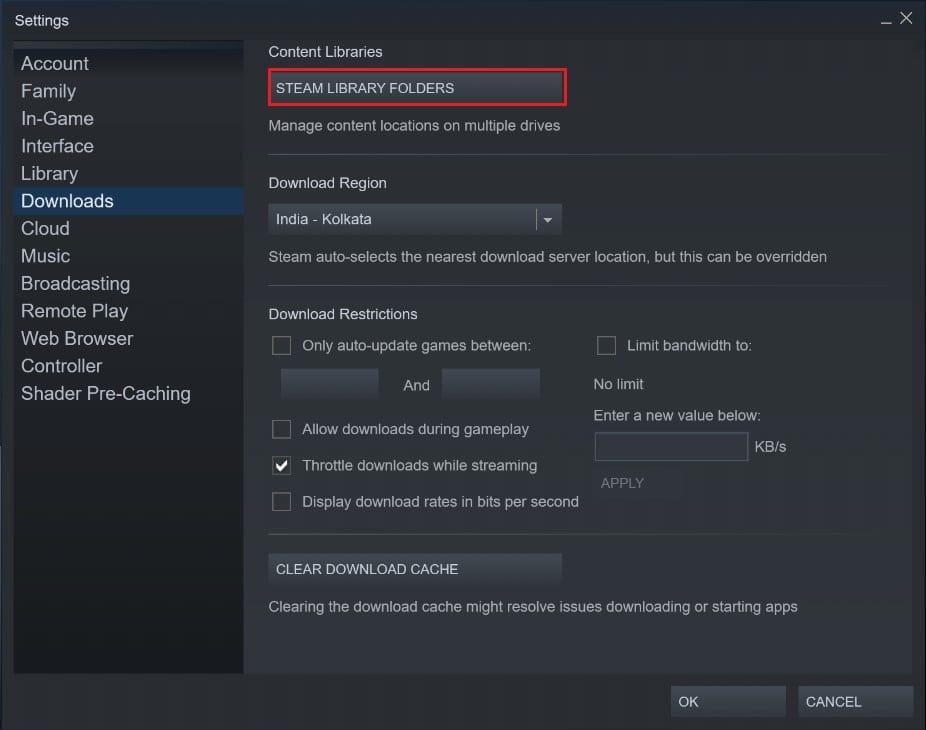 Click on Steam library folders   Fix Steam Corrupt Disk Error on Windows 10