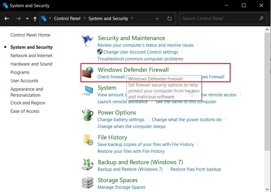 Click on Windows Firewall | Fix NET::ERR_CONNECTION_REFUSED in Chrome