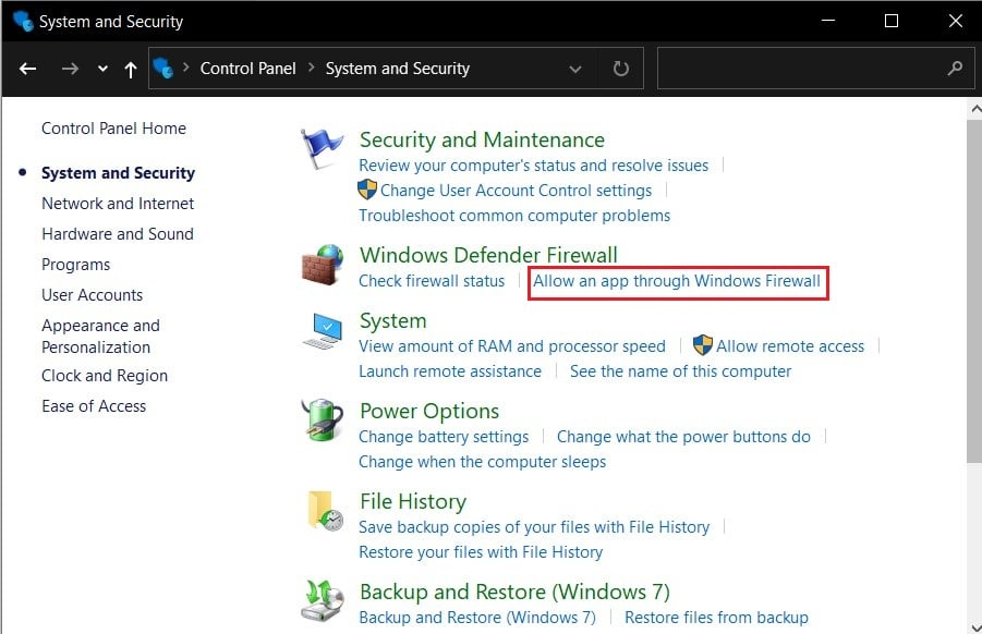 Click on allow an app through windows firewall | Fix the Local Device Name is Already in Use Error on Windows