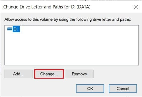 Click on change to assign new drive letter