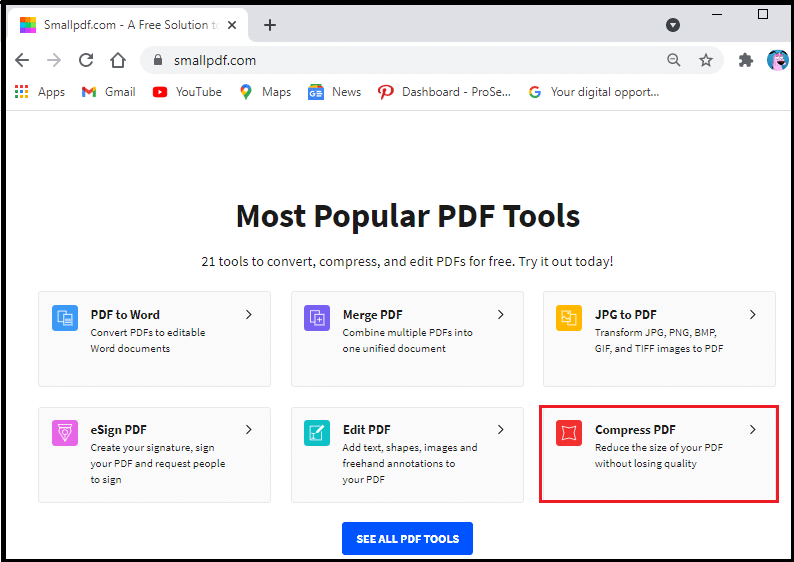 Click on compress PDF
