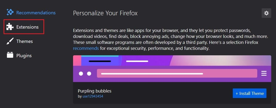 Click on extensions | Fix No Video with Supported Format and MIME type found
