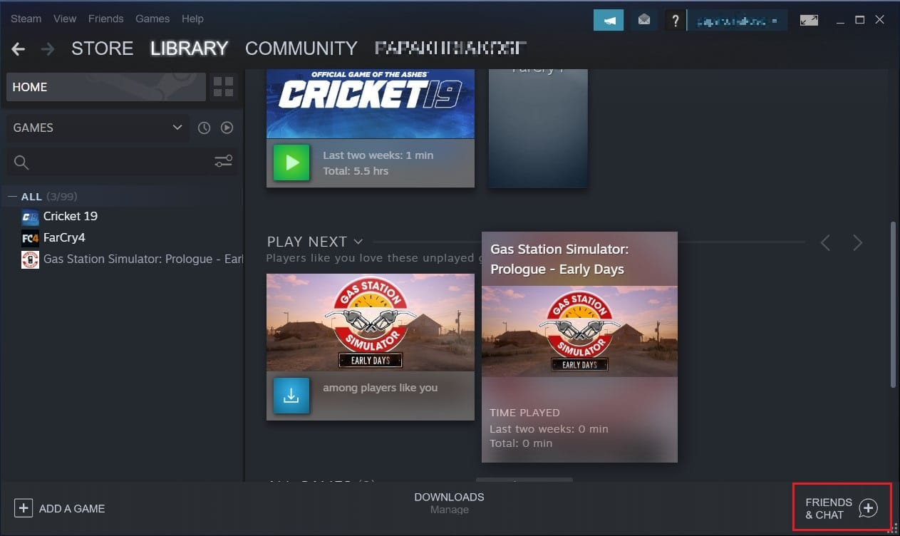 Click on friends and chat in bottom right corner of the screen