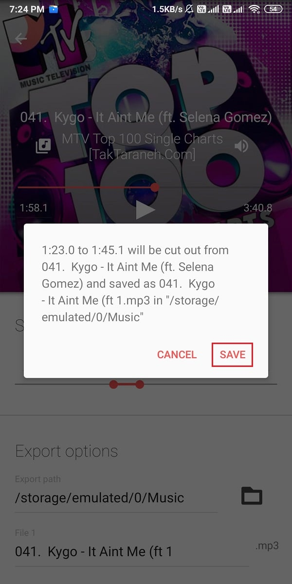 Click on save, and the audio file will save to the location | Make a YouTube song as your Ringtone on Android