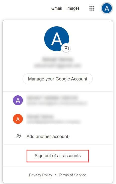 Click on sign out of all accounts | Fix Google Drive Access Denied Error