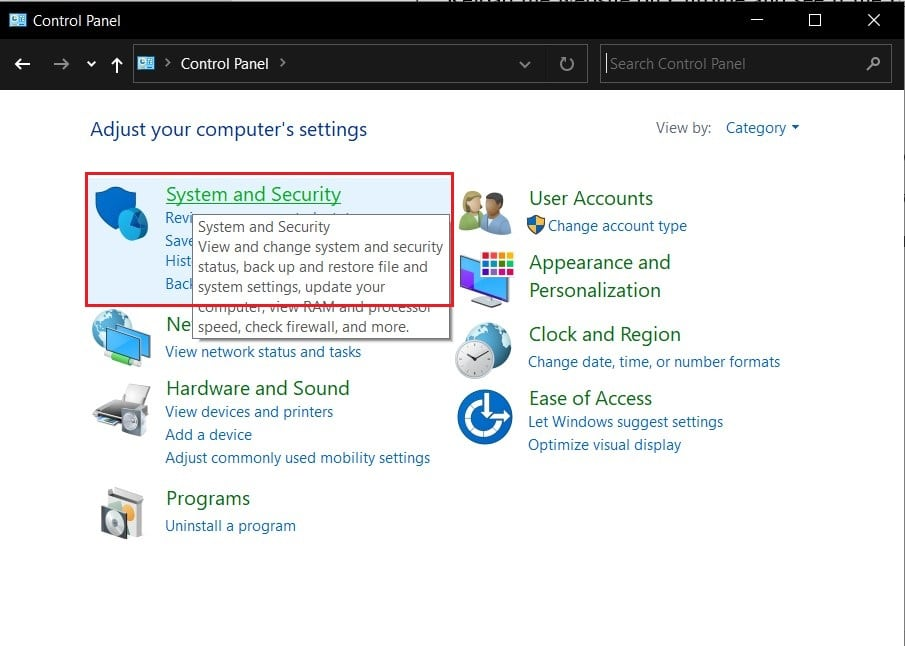 Click on system and security in control panel