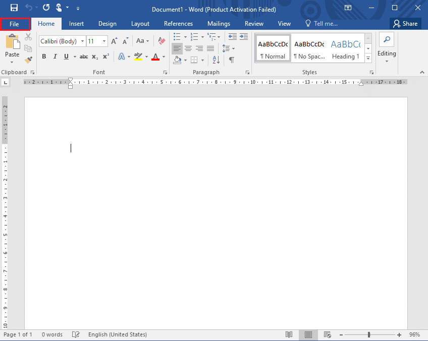 Click on the File tab from the top-left corner of the screen