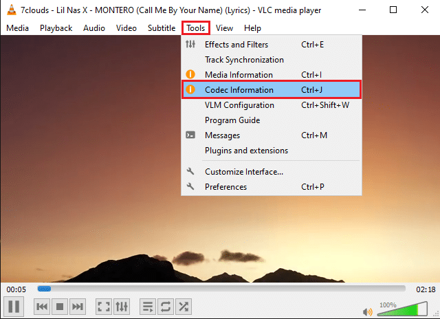 Click on the Tools tab and select Codec Information