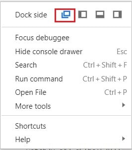 Click on the three dots and open inspect page in new window