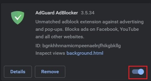 Click on the toggle button to turn off adblock extension | Fix NET::ERR_CONNECTION_REFUSED in Chrome