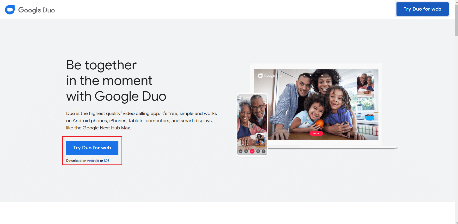 Click on try duo for web