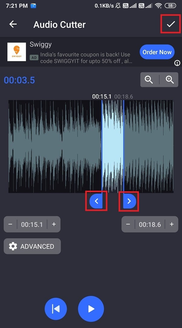Drag the blue sticks to trim your MP3 audio file and click on the Check icon